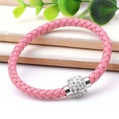 Shamballa gömbös rózsaszín karkötő