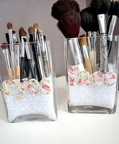 Makeup and Makeup Brushes Organizers INCLUDES:  filler beads flat faced jars 3d or regular stickers