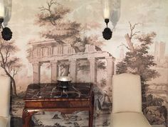 Dufour exclusive reproductions by Holly Alderman, in a dining room on Worth Avenue, Palm Beach Scenic Wallpaper, Antique Wallpaper, Grisaille, Art Reproductions, Chinoiserie, Photo Art, Monochrome, Fine Art, Antiques