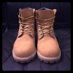 Light Brown Timberland Boots Great condition! 9/10! Just some barely noticeable scuffs on the toe. Authentic, no box. Says size 5 but fits like a 6.5-7! I'm a size 6 and they're a bit too big. Heel to toe is about 9 inches. OPEN TO OFFERS Timberland Shoes Ankle Boots & Booties