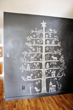 chalk board christmas tree - and think how little room it takes up!- reminds me of scherenschnitte (and, yes, I had to look it up to verify the spelling but I had it right)