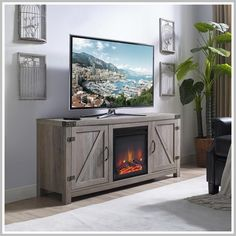 67 Reference Of Whitewash Wood Tv Stand In 2020 Barn Door Tv Stand Fireplace Tv Stand Fireplace Entertainment Center