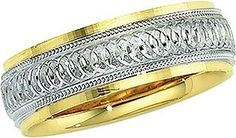 14K Gold Two Tone Men's Wedding Band.    http://www.thediamondstore.com/products/men's-wedding-rings/14k-gold-two-tone-mens-wedding-band-%7C-5637/7-556
