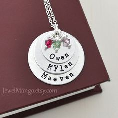 Mother Necklace mom of 3 Personalized necklace mommy necklace 3 kids name birthstones three kids children