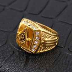 Fashion Gold Titanium Steel Finger Ring Rhinestone Free-Mason Logo Jewelry Gift for Men at Banggood