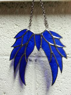 blue stain glass angel wings