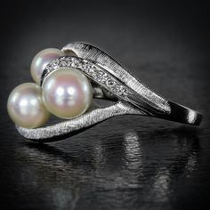 diamond and pearl retro cocktail ring