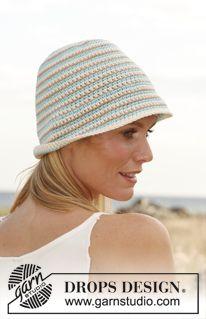 """Hæklet DROPS hat i """"Paris"""" med striber ~ DROPS Design"""