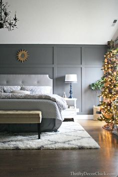 Dark Wood Floors Bedroom Grey Walls