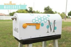 Easy mailbox makeover with fun octagon design using ScotchBlue painters tape - LOVE this from Lolly Jane!