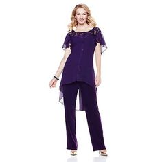 """*NEW ITEM* Antthony """"Leanne"""" 3-pc Chiffon and Sequins Set [Eggplant, 24W]"""