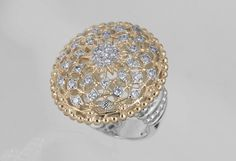 "The ""Lattice"" ring, with 0.5 cts Diamonds, 14k Gold, and Sterling Silver by Vahan Jewelry #VahanLattice #VahanPinterest"