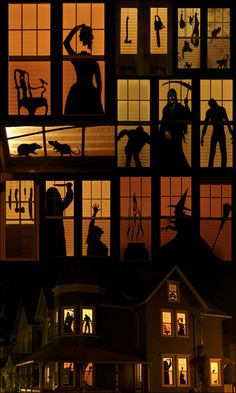 Hallowindows (haha!!) Cut out silhouettes to put in your windows. When night falls and the lights come on...the scares begin!