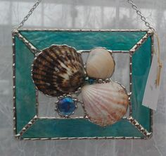Stained Glass Seashell Panel by PineTreeGlassWorks on Etsy, $29.00