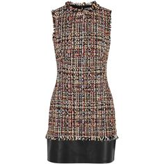Alexander McQueen Tweed And Leather Dress - Size 8 (162.085 RUB) ❤ liked on Polyvore featuring dresses, short dress, real leather dress, multicolor dresses, tweed dress, multicolored dress and colorful dresses