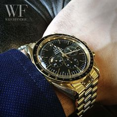 We've really taken a shine to this #Omega #Speedmaster Moonwatch in gold for #SpeedyTuesday!
