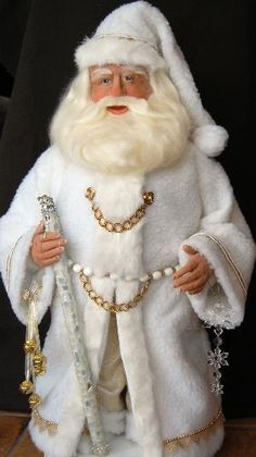 Santa Claus Dolls, handmade, sculpted by Lynn Burr of Snowflake Bay Santa & Friends
