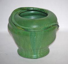 ◭ Penchant for Pottery ◮ Ephraim Faience Pottery 1999 Matte Green Snake Vase from Just Art Pottery