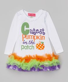 Take a look at the The Princess and the Prince White 'Cutest Pumpkin' Ruffle Dress - Infant, Toddler & Girls on #zulily today!