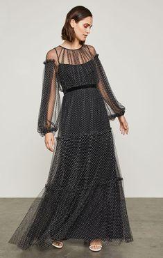 ec183cbbc9a Flocked Dot Mesh Dress Maxi Dress With Sleeves