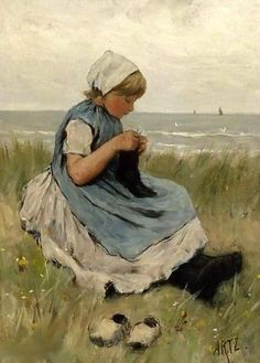 """A Girl Knitting In The Dunes"" by David Adolf Constant Artz"