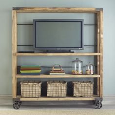 Recycled Pine Wood shelves, from Wisteria online catalog. Where to find those wheels.
