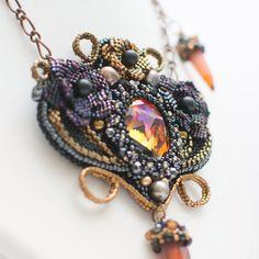 Reserved! Art Nouveau necklace with Swarovski crystals, Black, Bronze,Red, Flowers, Boho, Modern