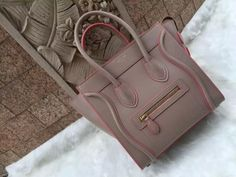 S/S 2016 Celine Collection Outlet-Celine Micro Luggage Handbag in Elephant Grey Calfskin With Rose Lining