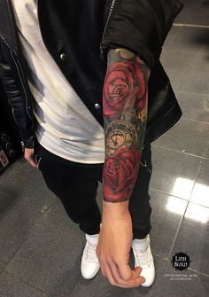 Beautiful color tattoo for men, rose tattoo, arm tattoo, beautiful flower tattoo, Dope Tattoos, Forarm Tattoos, Forearm Tattoo Men, Trendy Tattoos, Body Art Tattoos, Man Hand Tattoo, Tatoos, Forearm Sleeve, Tattoos Skull
