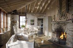 Wohnzimmer Einrichten Ideen Einrichtung Landhausstil Wohnzimmer Einrichten  Steinwand Kamin