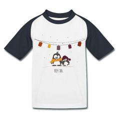 #Kinder Baseball T-Shirt mit #Pinguin Oscar & Ole.