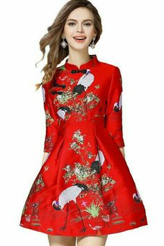 efea02bc3819 online shopping for Tuliplazza Women s Crane Embroidery A-Line Tunic  Cocktail Party Prom Short Dress from top store. See new offer for  Tuliplazza Women s ...