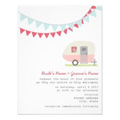 Retro Pink Trailer Wedding Invitation by Jill's Paperie