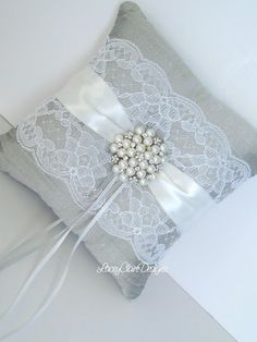 Bridal Lace Ring Bearer Pillow for wedding made from dupioni Wedding Ring Cushion, Wedding Pillows, Cushion Ring, Ring Bearer Pillows, Ring Pillows, Ring Holder Wedding, Wedding Rings, Lace Ring, Bridal Lace