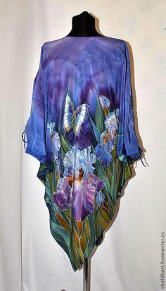 """Блузки ручной работы. Заказать Шелковая блуза-пончо батик """" Голубые ирисы"""". Маркова Марьяна Style lux. Ярмарка Мастеров."""