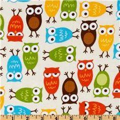 Kaufman 21 Wale Cool Cords Owls Harvest Natural - Discount Designer Fabric - Fabric.com