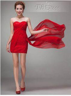 Noble Sheath/Column Short/mini Sweetheart Neck Lace Bridesmaid Dresses #red color bridesmaid dress
