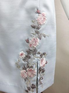 Spring 2013. A close up of the exquisite lace embroidery applique on our new dress in ice colour. Also available in lucky plum colour.