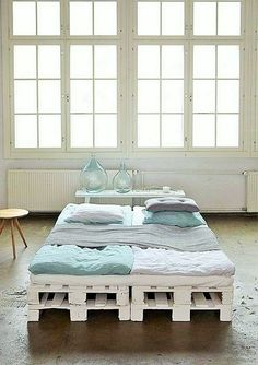 Here you can see a white room, the windows of the room are in white, the colors of the walls are white and the floor is also same. The bed that is placed in the room has also been painted white so that it can match with the other furniture and is looking just awesome.