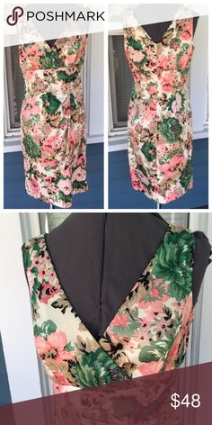 """DONNA RICCO NY Pink Floral Dress Beautiful💃 RICCO NY Pink Floral Dress.   Great for a summer wedding or garden party.  Sleeveless.  Vneck.  Ruched front waist.  Lined bodice.  Pink & green floral polyester/spandex blend material with stretch.  Pit-to-pit 19"""".  Waist 31"""".  Length 38-1/2"""" (shoulder to hem).  Excellent condition. Donna Ricco Dresses"""