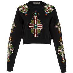 Versace Embellished Sweatshirt (76,130 THB) ❤ liked on Polyvore featuring tops, hoodies, sweatshirts, sweaters, black, crop top, cropped sweatshirts, versace top, versace and embellished top