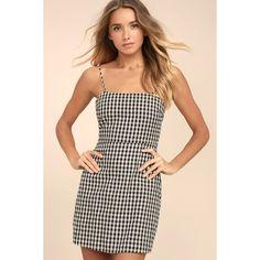 Sawyer Black and White Gingham Mini Dress ($49) ❤ liked on Polyvore featuring dresses, black, mini dress, lulus dress, gingham dress, short dresses and open back mini dress