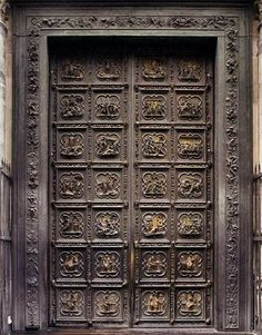 Life of Christ doors currently on the north side of the Baptistery of St. Lorenzo Ghiberti designed both the north and east doors. Lorenzo Ghiberti, Florence Baptistery, Medieval Door, Life Of Christ, Grades, Cool Doors, Door Opener, Quatrefoil, Doorway