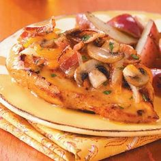 Bacon-Cheese Topped Chicken from Taste of Home -- shared by Melanie Kennedy of Battle Ground, Washington Battle Ground, Bacon Mushroom, Mushroom Chicken, Marinated Chicken, Chicken Bacon, Chicken Meals, Chicken Recipes, Cheesy Chicken, Recipe Chicken