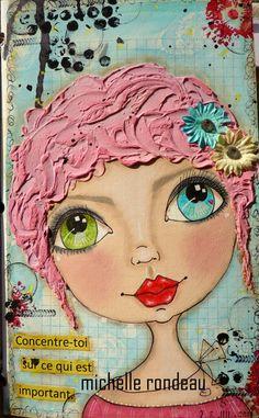 Voici donc mes plus récentes pages... Ici une étampe de Suzi Blu Un peu de zentangle Elle, je lui ai donné des cheveux en ...
