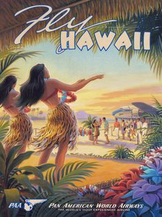 Fly Hawaii ~ Vintage Poster