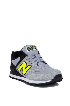 huge selection of df2c3 17903 New Balance Woven 574 Grey Black Sneakers  New Balance Gym Shoes - AKIRA  Yellow Sneakers