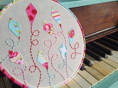 Fly a Kite  Embroidered Hoop Art  8 inches  by FaSewLaStitches, $29.00