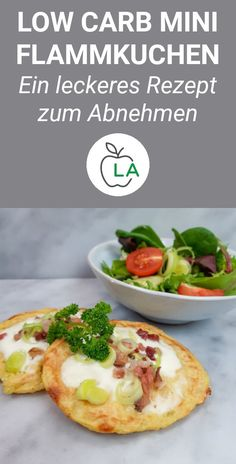 Low Carb Flammkuchen – Leckeres Rezept zum Abnehmen This low carb tarte flambee recipe is healthy and can also be made vegetarian. The low carbohydrate content and high protein content make it perfect for losing weight with a low-carbohydrate diet. Healthy Dinner Recipes, Low Carb Recipes, Beef Recipes, Vegetarian Recipes, Protein Recipes, Cookie Recipes, Vegetarian Cooking, Protein Foods, Whey Protein