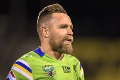 Blake Austin of the Raiders looks on during the round 23 NRL match between the…